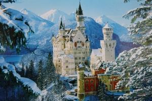 Neuschwansteinin linna sellaisena kuin se postikortissa esitetään.
